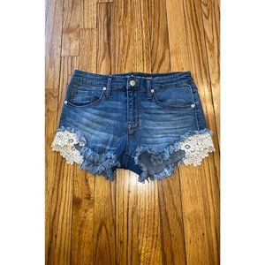 High Rise Cut Off Embroidered Stretchy Jean Shorts